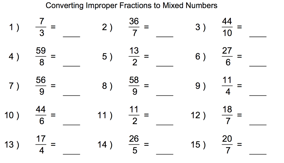 Printables Improper Fractions To Mixed Numbers Worksheets improper fraction to a mixed number scalien convert worksheet