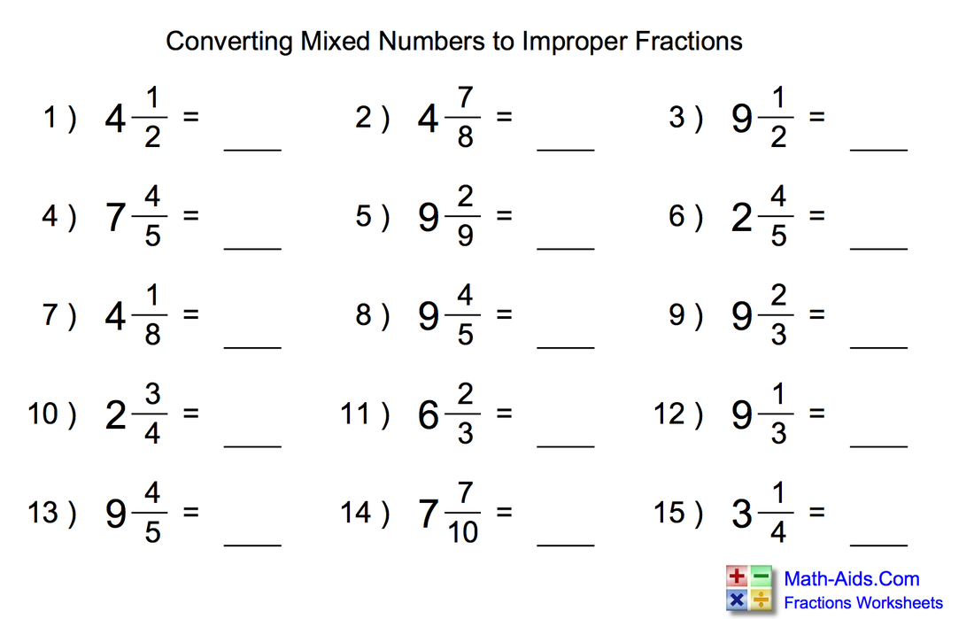 Mixed Numbers Into Improper Fractions Scalien – Mixed to Improper Fractions Worksheets